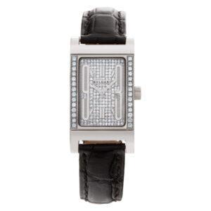 Bvlgari Rettangolo RT W39 G 18k Wg, pave diamond silver dial/bezel 21mm Quartz