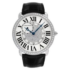 Cartier Ronde Louis WR007004 18k White Gold Factory Diamond Bezel & Pave Dial