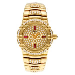 Piaget Tanagra 16035 M 404 D 18k Yellow Gold Pave dial 25mm Quartz watch
