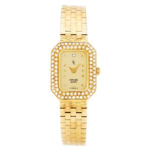 Concord Classic 487312 18k Champagne dial, diamond bezel 17mm Quartz watch