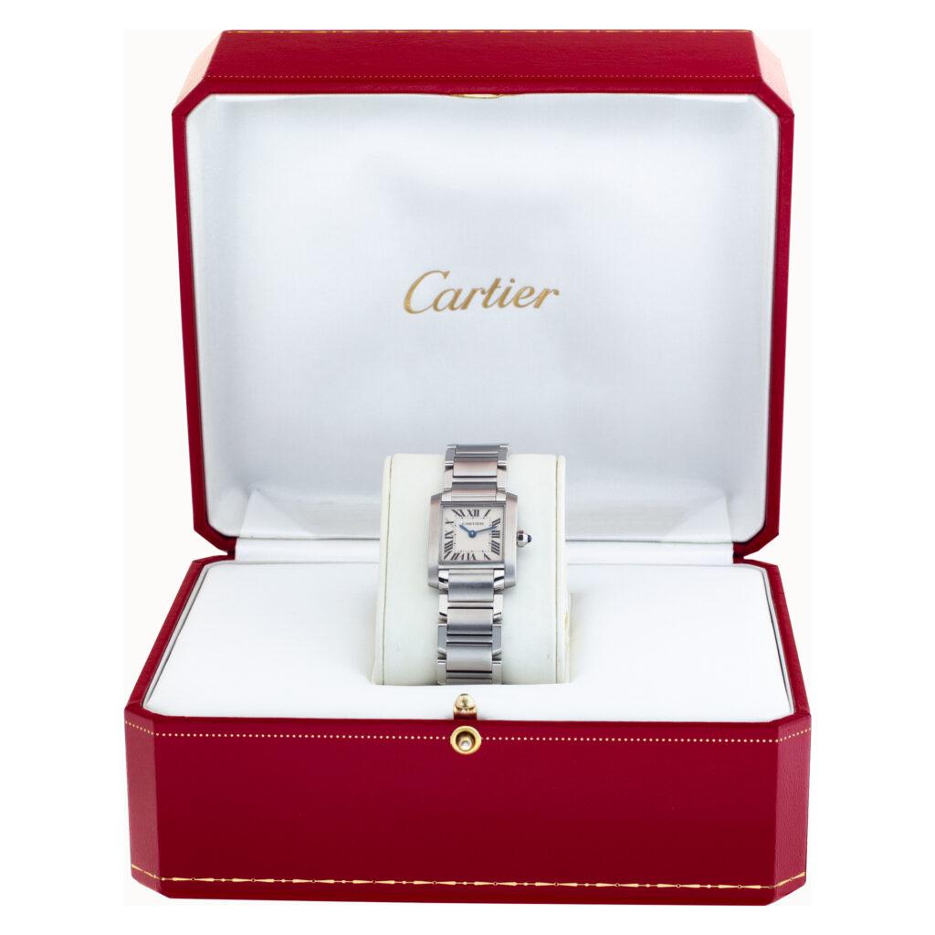 Cartier Tank Francaise W51008Q3 Stainless Steel White dial 20mm Quartz watch