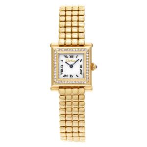 Cartier Trocadero limited edition in 18k White dial, diamond bezel 20mm Quartz