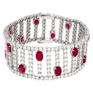 Dazzling ruby and diamond bracelet in 18k white gold