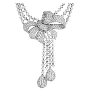 Diamond Bow necklace with approximately 63 carats in diamonds