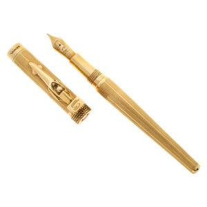 "Collectible Montegrappa ""Tribute to Ayrton Senna"" fountain pen in 18k yellow gold."