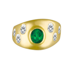 Elegant emerald ring in 18k with over 1.50 carats in oval-cut diamonds.
